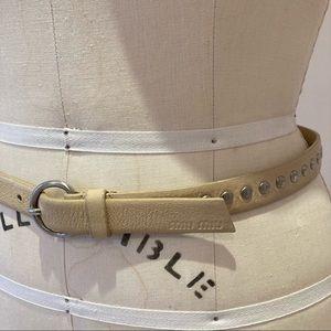 MIU MIU Beige Belt with Metal Studs